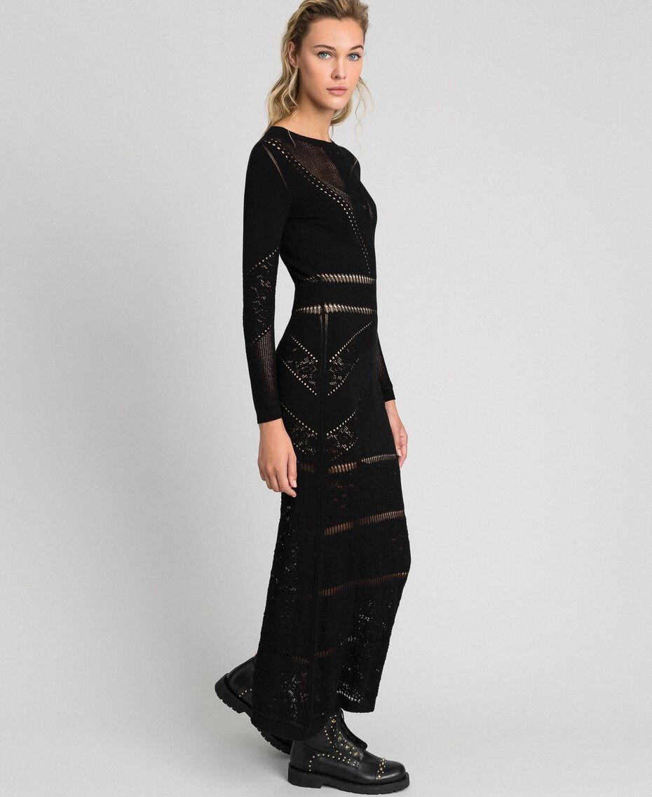 Long openwork dress Black Woman 192TT3210-02