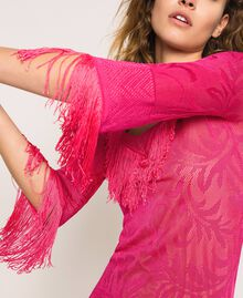 Lace stitch dress with fringes Black Woman 201TT3010-04