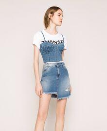 Minigonna in jeans asimmetrica Denim Blue Donna 201MT2347-01