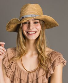 "Hat with animal print strap ""Mid Tan"" Brown Woman 191TA4391-0T"