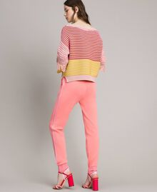 Patchwork effect top with fringes Patchwork Pink  / Yellow Striping Woman 191TP3311-03