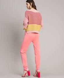 Pullover im Patchwork-Look mit Fransen Streifen Patchwork Pink / Gelb Frau 191TP3311-03