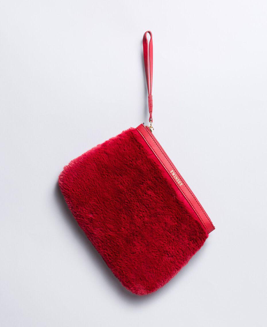 Trousse à maquillage en fausse fourrure Rougeâtre Femme LA8ZFF-01