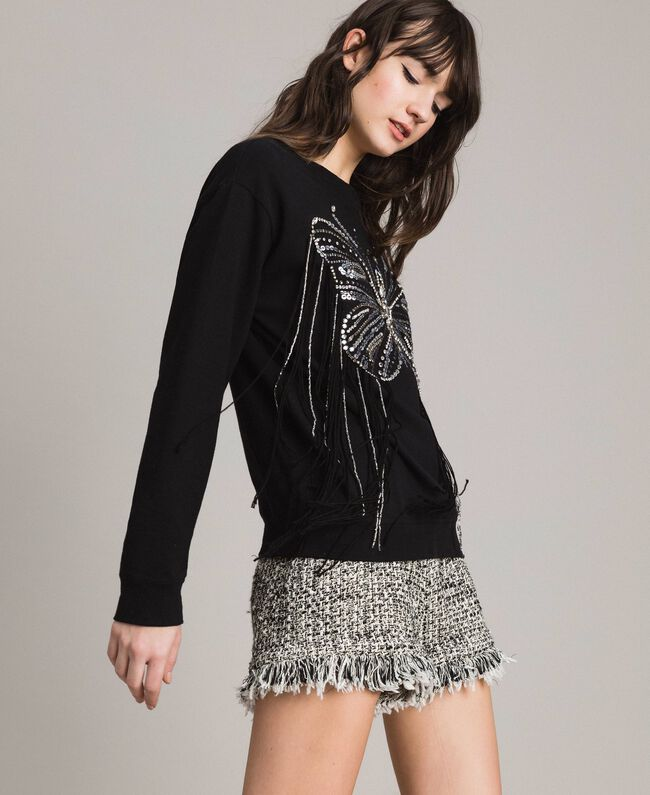 Butterfly embroidery and fringe sweatshirt Black Woman 191TP2590-02