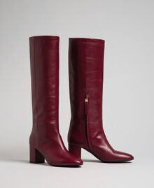 Leather high boots Beet Red Woman 192TCP100-02