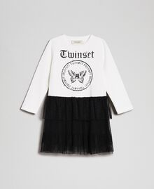 Printed dress with flounce skirt White / Black Child 192GB2322-01