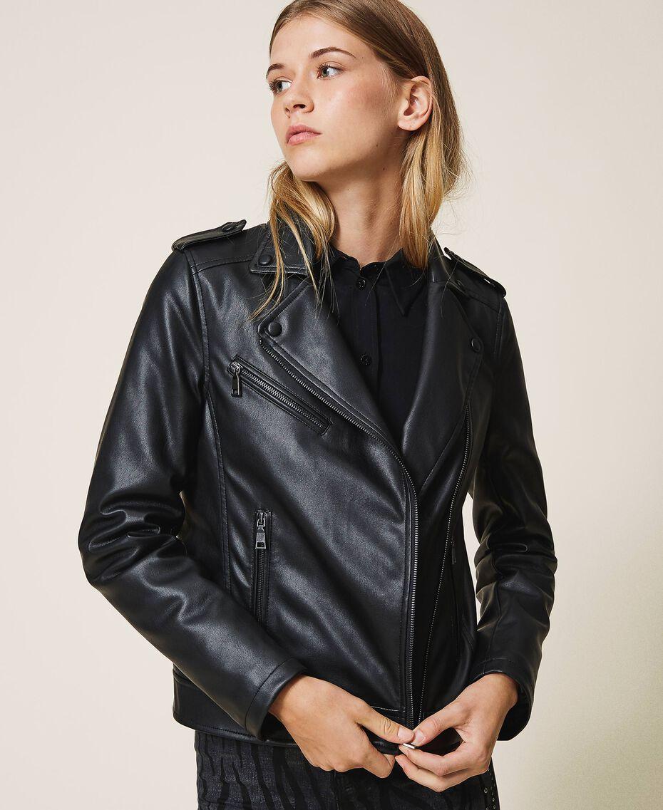 Байкерская куртка из искусственной кожи Черный женщина 202MP2090-01