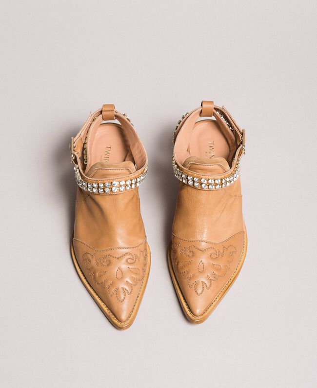 Texan leather sabot shoes with rhinestones Nougat Beige Woman 191TCT09L-04