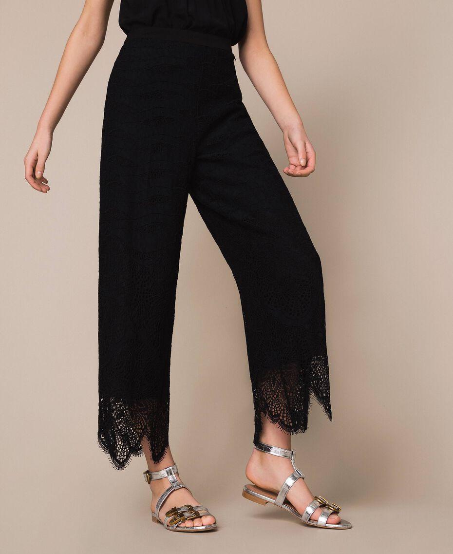 Macramé lace trousers Black Woman 201TP2033-02