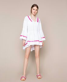 Kaftan with flounces and sequins White Woman 201LM2AQQ-05