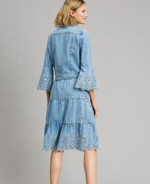 Mid-length skirt with broderie anglaise and flounces Denim Blue Woman 191MP2011-03