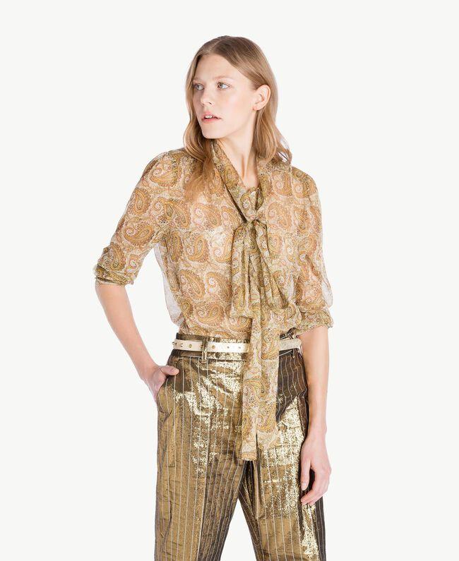 Silk shirt Yellow Macro Paisley Print Woman TS825R-01