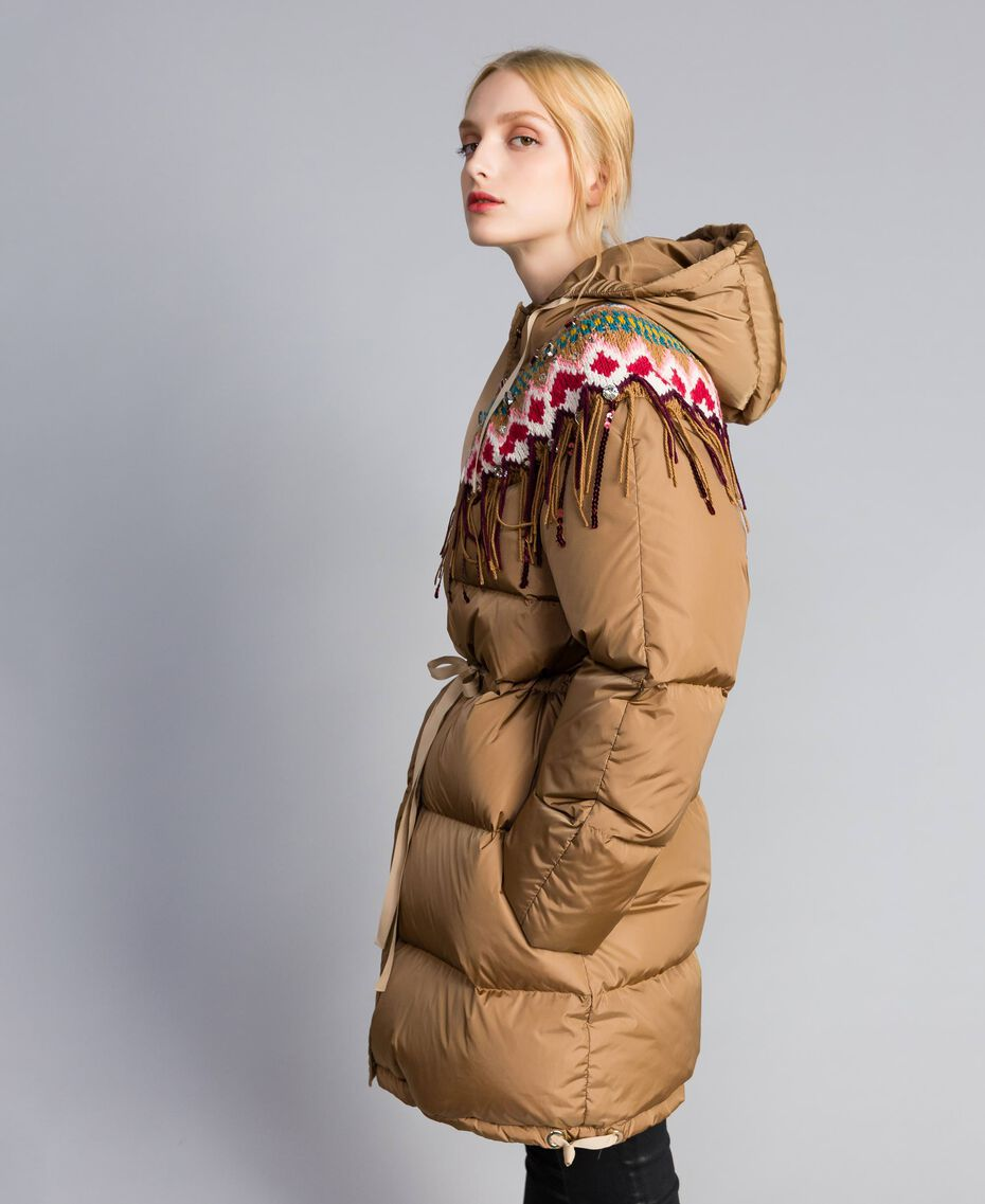 Piumino lungo con inserto in maglia Camel Donna QA8TED-02