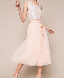 Jupe mi-longue en tulle plissé Quartz Rose Femme 201MP2122-05