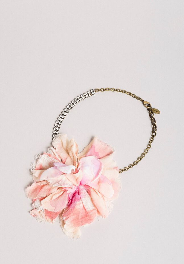Collier en strass avec fleur
