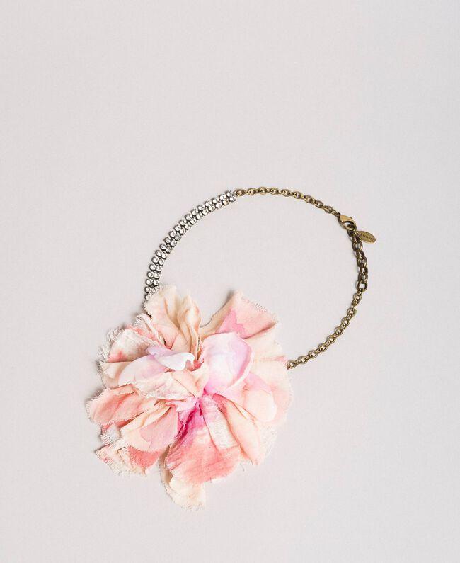 Rhinestone choker with flower Pink Pearl Woman 191TA431H-01