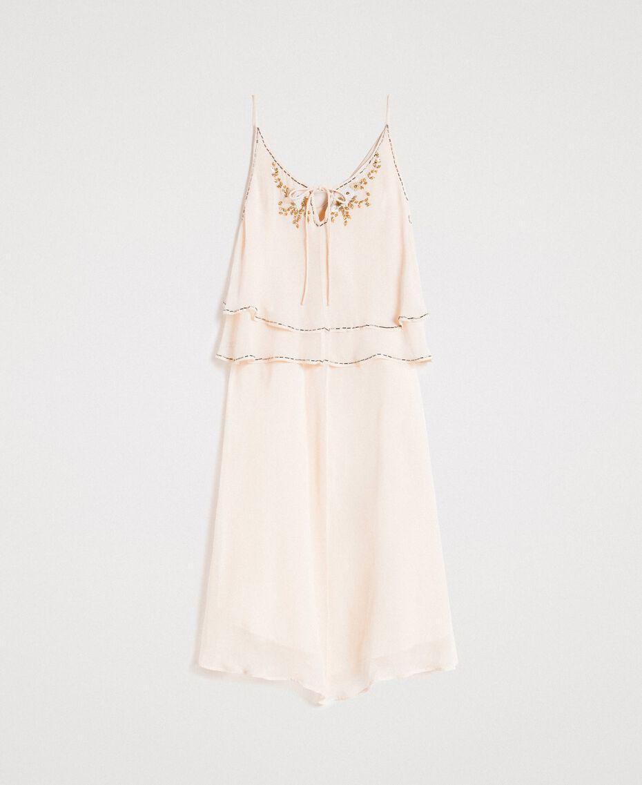 """Crepon besticktes Kleid """"Milkway"""" Beige Frau 191LB21BB-0S"""