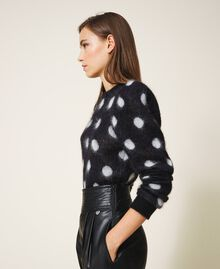 Pull jacquard à pois Jacquard Bicolore Noir / Blanc Neige Femme 202TT3221-02