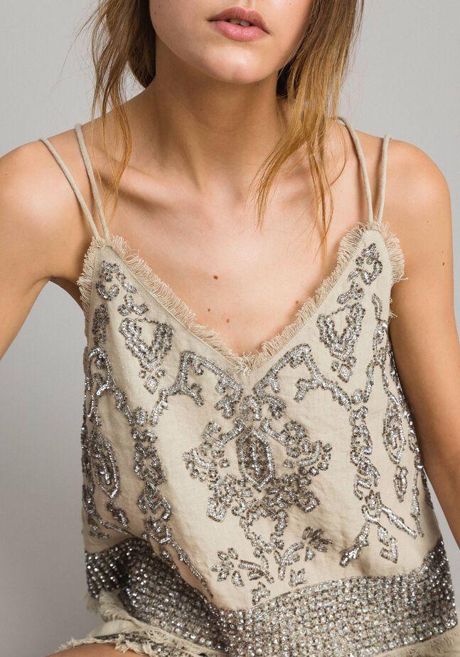 Top in lino con perline e paillettes