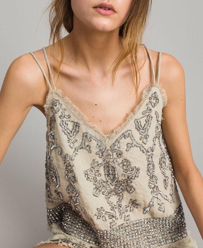 """Top in lino con perline e paillettes Beige """"Sand"""" Donna 191TT2062-01"""