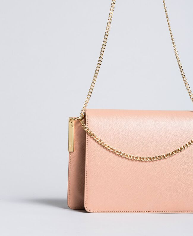 "Leather shoulder bag ""Pale Pink"" Pink with Gold Butterfly clasp Woman OA8TEA-04"