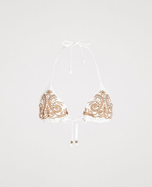 Triangle bikini top with embroideries and rhinestones Ivory Woman 191LMMR22-01