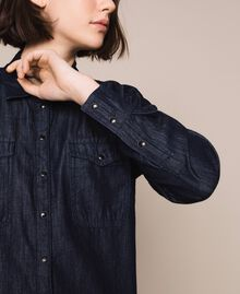 Denim shirt with lace Denim Blue Woman 201MP2402-04