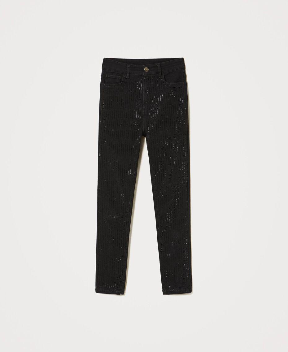 Jean skinny avec cristaux Noir Femme 211TT2320-0S