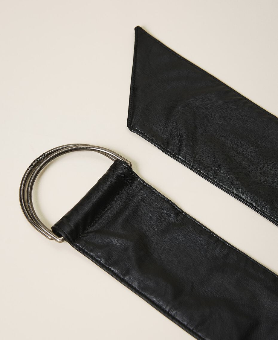 Faux leather sash belt Black Woman 202MA4352-03