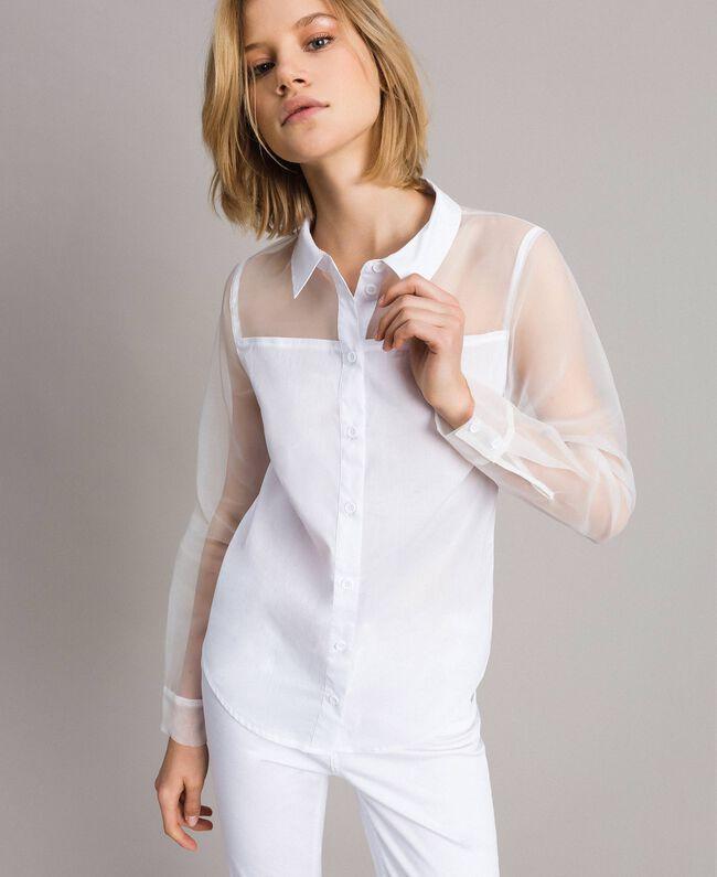 Organza und Popeline-Hemd Weiß Frau 191MT2301-01