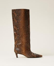 Leather high boots with animal print Leather Whips Print Woman 212TCP180-01
