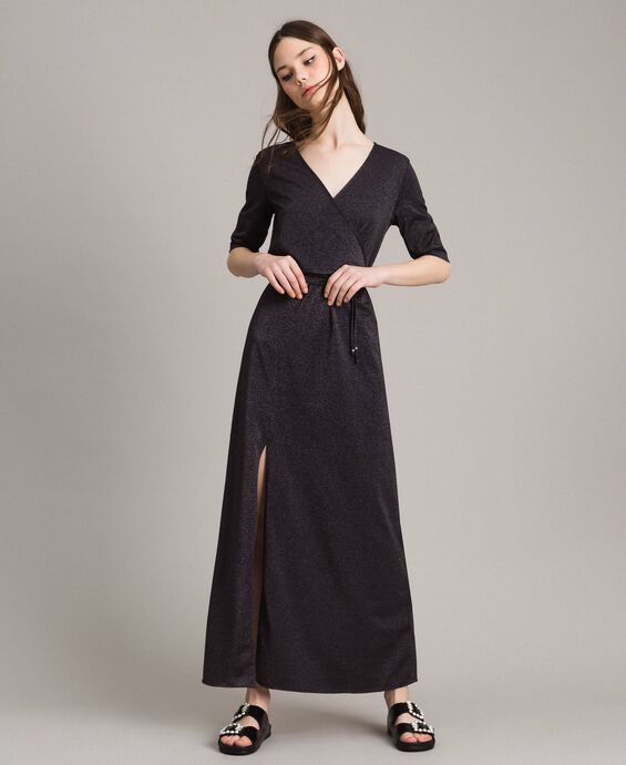 Lurex long dress with slit
