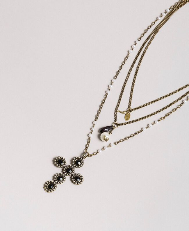 Multi-string rosary necklace with pendants and cross Black Woman 191TA4317-01