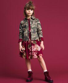 Robe en crêpe georgette avec imprimé floral Imprimé Rouge Betterave Géranium Enfant 192GJ2592-0T