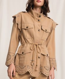 """Canvas jacket with broderie anglaise """"Dune"""" Beige Woman 201TP2011-05"""
