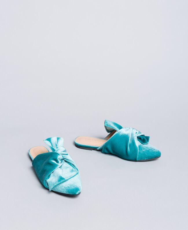 """Mules in velluto Azzurro """"Blue Melancholia"""" Donna LA8JFF-01"""
