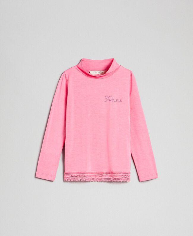 "T-shirt in jersey con pizzo Rosa ""Confetti"" Bambina FCN2D1-01"