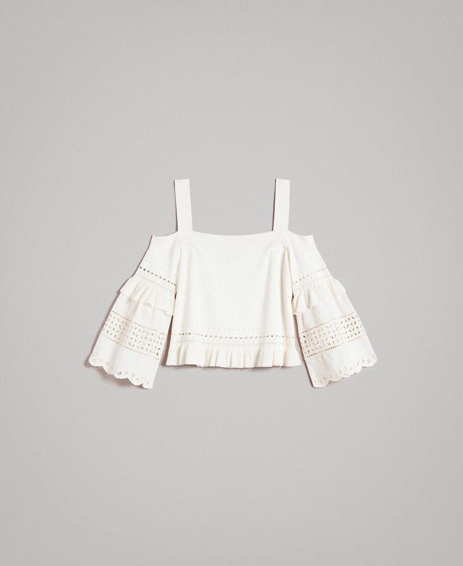 Pullover mit Lochstickereien Weiß Schnee Frau 191TT3011-0S