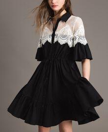 Poplin shirt dress with lace inlays Black Woman 191TT2121-01