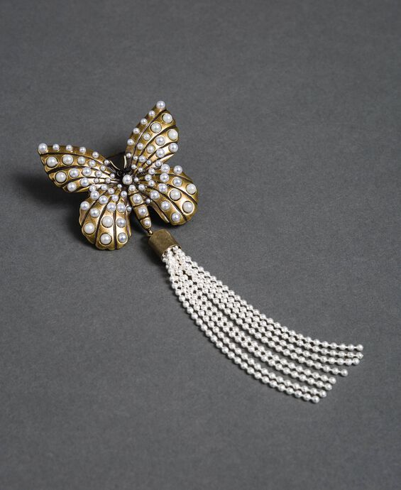 Butterfly brooch with tassel and small pearls