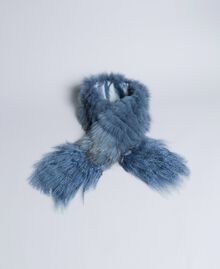 Fur tricot knitted stole Dusty Blue Woman AA8P9D-01