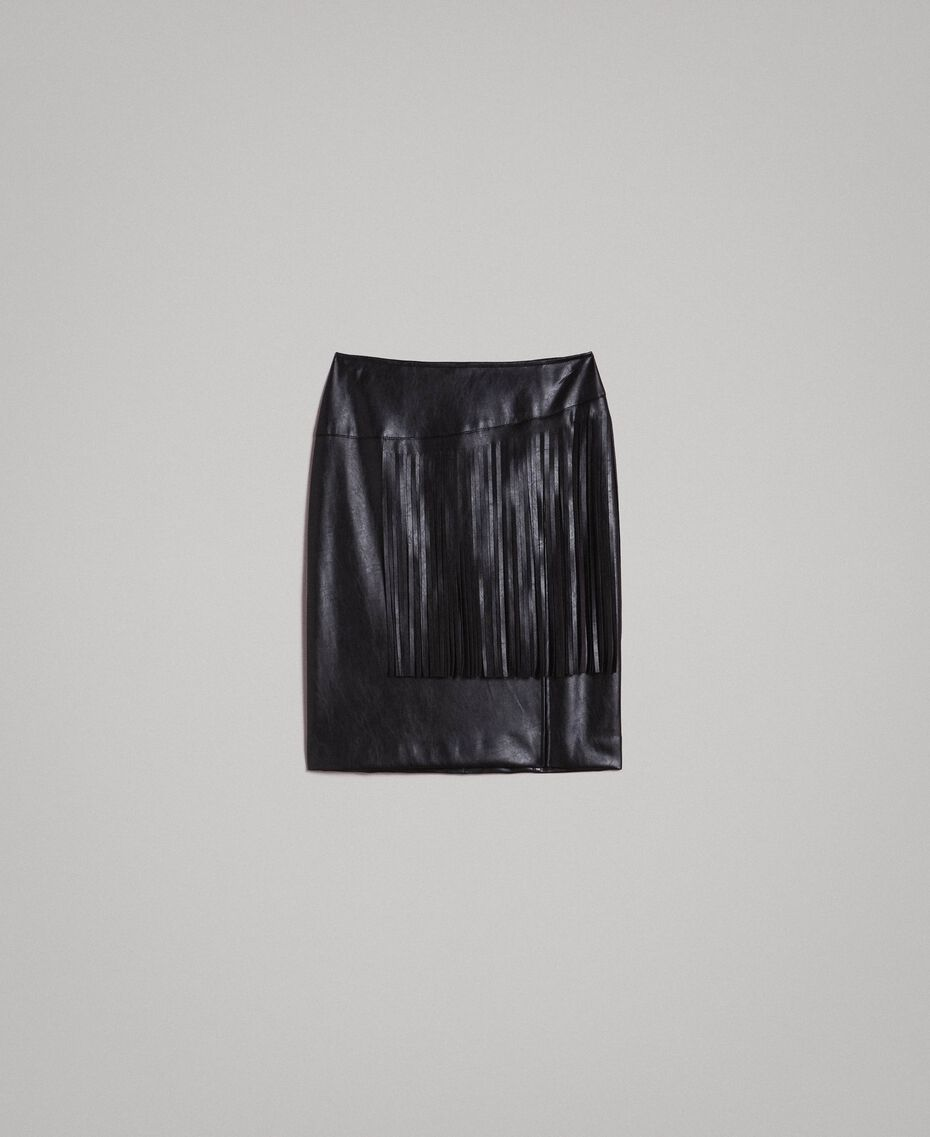 Faux leather mini skirt with fringes Black Woman 191TT2321-0S