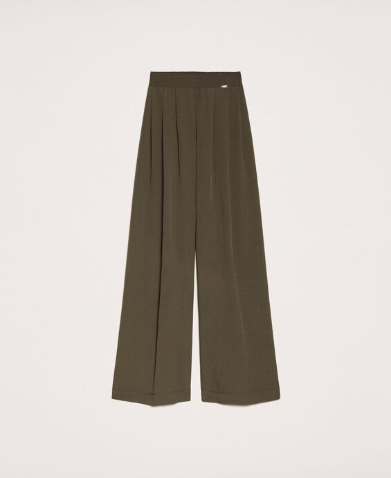 Crêpe de Chine wide trousers