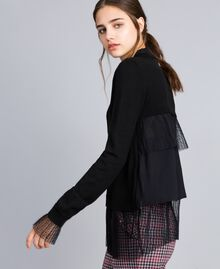 Jersey de lana mixta con tul plisado Negro Mujer SA83AA-02
