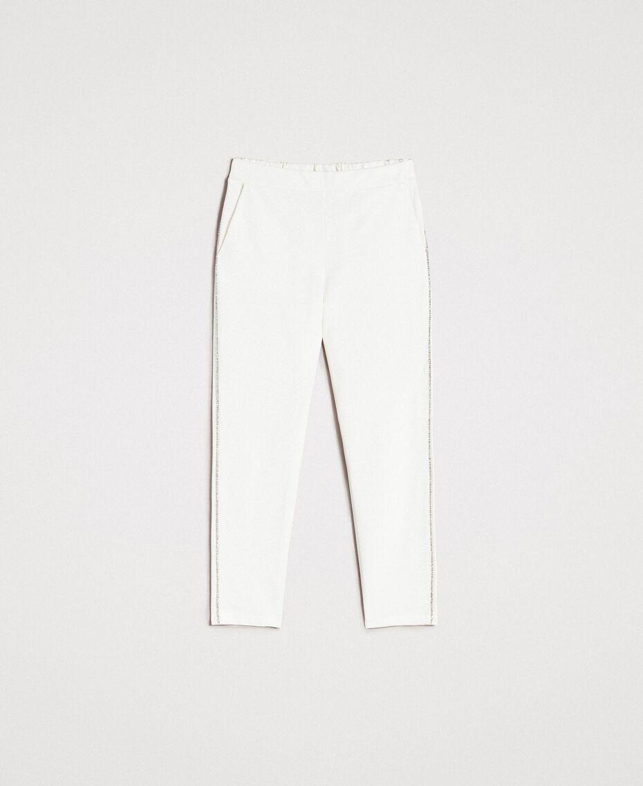 Pantalon cigarette strassé Blanc Femme 191LB22KK-0S