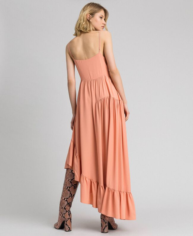 Asymmetric crêpe de Chine dress Mousse Pink Woman 192TP2384-03
