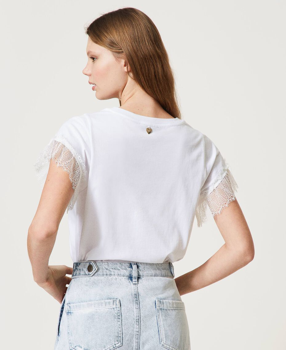 T-shirt with logo and lace sleeves White Woman 211TT2231-03