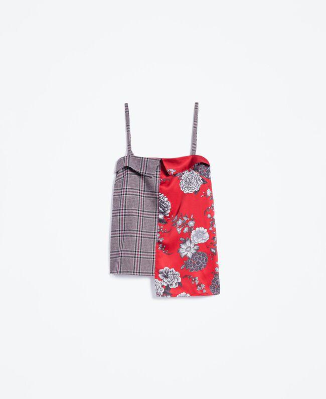 "Printed satin and flannel top ""Reddish"" Red Flower Print Woman LA8KMM-01"