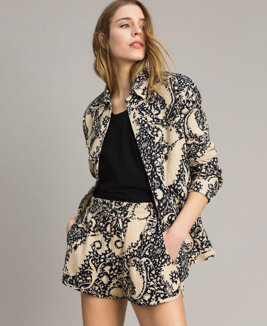 Matelassé-Shorts aus Baumwolle Gestempeltes Motiv Frau 191TT2192-0T