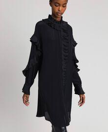 Kleid aus Crêpe de Chine aus Seidenmischung Schwarz Frau 192TP2101-05